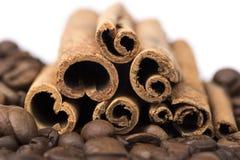 肉桂条香料和在白色背景隔绝的咖啡豆 免版税库存图片