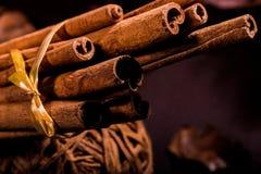 肉桂粉,肉桂条,连接用有一把弓的一个盘子在一个土气样式的颜色背景 宏观照片 免版税库存照片