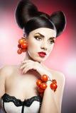 肉欲的妇女模型画象与豪华构成的 免版税库存照片