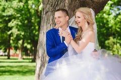 肉欲的容忍新娘和新郎根据日落 免版税库存图片