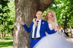 肉欲的容忍新娘和新郎根据日落 免版税库存照片