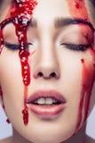 肉欲的时装模特儿画象与完善的构成的 红色果酱我 库存照片