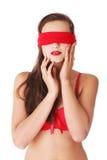 肉欲的蒙住眼睛的妇女 免版税图库摄影