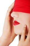 肉欲的蒙住眼睛的妇女 免版税库存图片