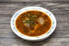 肉汤牛肉用胡椒和蕃茄 从中东,亚洲的传统盘 汤Shurpa 免版税库存照片