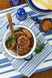 肉炸肉排或香肠小馅饼 免版税图库摄影