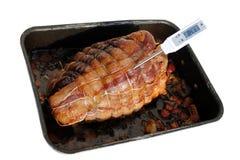 肉烤猪肉温度计 库存图片