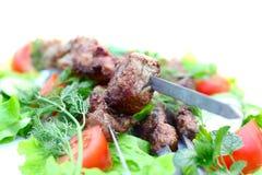 肉烤肉与绿色的 免版税库存照片