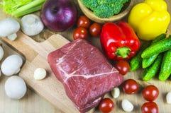 肉片与菜的 免版税库存照片