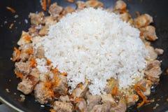 肉片用红萝卜炖煮的食物 库存照片