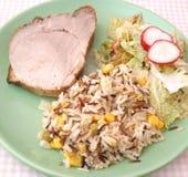 肉用沙拉和米 免版税库存图片