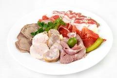 肉的不同的类型肉板材和装饰用绿色 库存照片