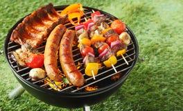 肉的选择在一串便携式的烤肉的 免版税图库摄影