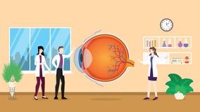 肉眼医疗保健辨认由医院的医生人的核对分析- 向量例证