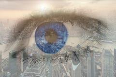 肉眼的两次曝光图象与商业中心区的 免版税图库摄影