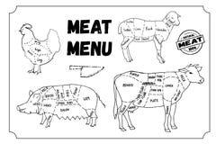 肉菜单 套标志,牛肉,猪肉,鸡,羊羔 也corel凹道例证向量 免版税库存图片