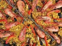 肉菜饭、大虾和罗斯玛丽 库存图片