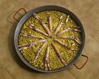 肉菜饭海鲜西班牙语 库存照片