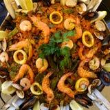 肉菜饭海鲜西班牙语 免版税库存图片