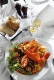 肉菜饭米海鲜样式 免版税库存照片