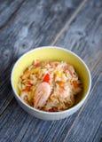 肉菜饭米用大虾 免版税库存图片