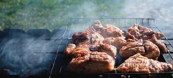 肉被烤在煤炭 免版税图库摄影