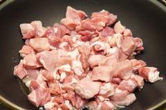 肉裁减成油煎的片断 免版税库存图片