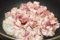 肉裁减成油煎的片断 库存图片