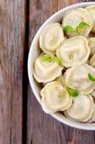 肉饺子-俄语煮沸了在板材油煎的三文鱼的pelmeni在一块板材用柠檬和莳萝在一张蓝色方格的桌布 库存图片