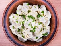 肉饺子-俄语煮沸的pelmeni 图库摄影