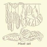 肉香肠集合 免版税库存照片