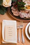 肉, cuting在桌上的火腿 免版税库存照片