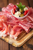 肉Cured肉, jamon,橄榄,香肠开胃小菜盛肉盘, 免版税库存图片
