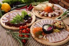 肉Peaces与蔬菜的 图库摄影