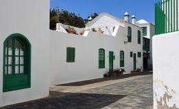 肋前缘特吉塞兰萨罗特岛传统风格大厦  免版税图库摄影
