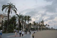 肋前缘的Dorada,西班牙海滨胜地锡切斯 免版税库存照片