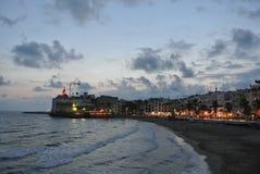 肋前缘的Dorada,西班牙海滨胜地锡切斯 库存照片