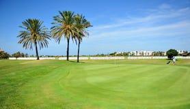 肋前缘Ballena,花名册,卡迪士省,西班牙高尔夫球场的高尔夫球运动员  免版税库存照片