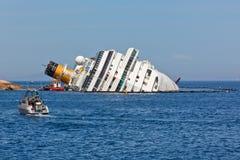 肋前缘Concordia在海难以后的游轮 图库摄影