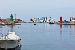 肋前缘Concordia游轮海难 图库摄影