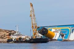 肋前缘Concordia游轮海难 免版税库存照片