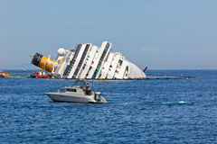 肋前缘Concordia游轮海难 免版税库存图片