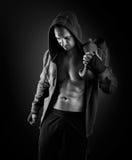 年轻肌肉人拳击手 免版税图库摄影