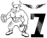 肌肉公牛橄榄球制服 库存图片
