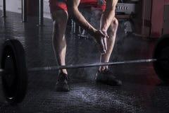 肌肉在杠铃worko前的运动员拍的手特写镜头  库存图片