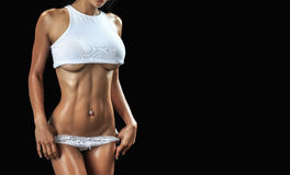 肌肉机体的女性 免版税库存照片