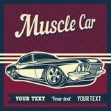肌肉汽车传染媒介海报 库存例证