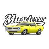 肌肉汽车动画片经典传染媒介海报T恤杉印刷品 库存照片