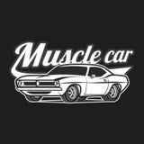 肌肉汽车动画片经典传染媒介海报T恤杉印刷品 皇族释放例证