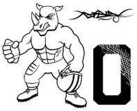 肌肉犀牛橄榄球制服 免版税图库摄影